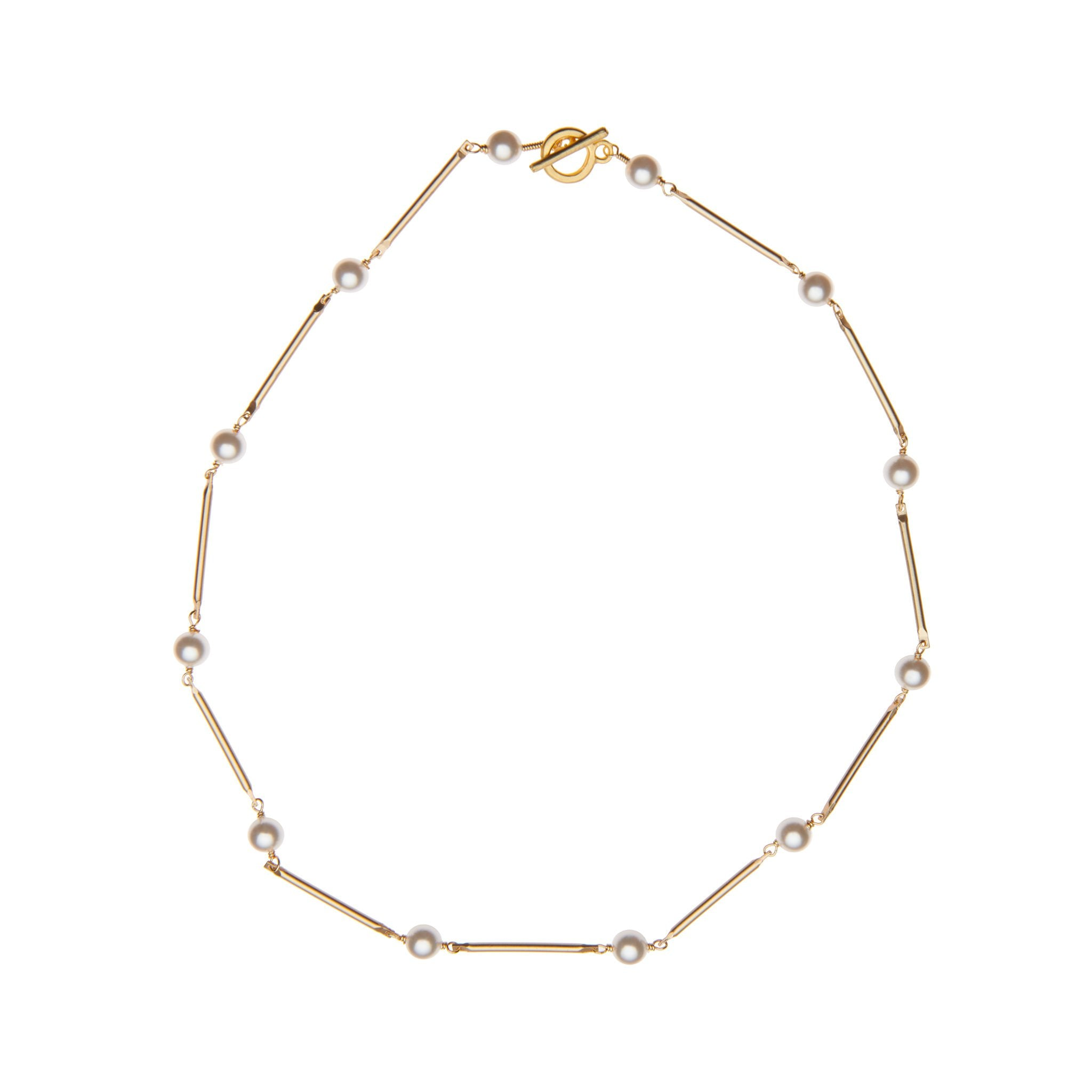 Pearl Bar Necklace White