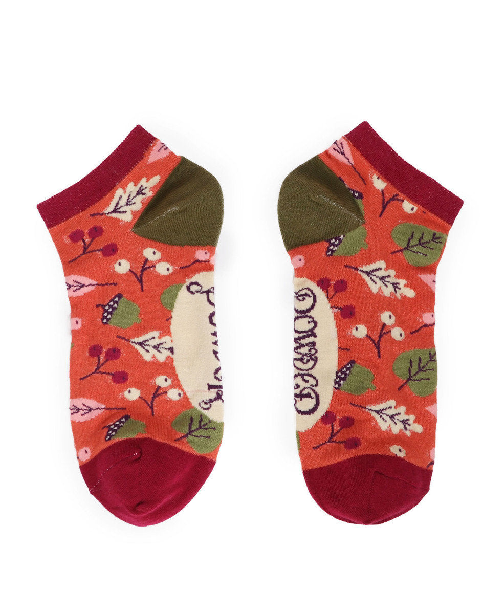 Ladies Socks - Tangerine Acorns