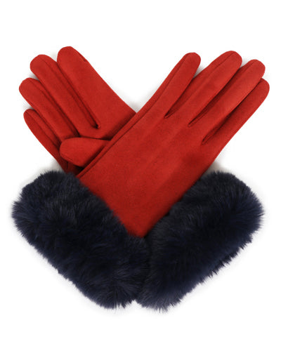 Faux Suede Gloves - Rust/Navy