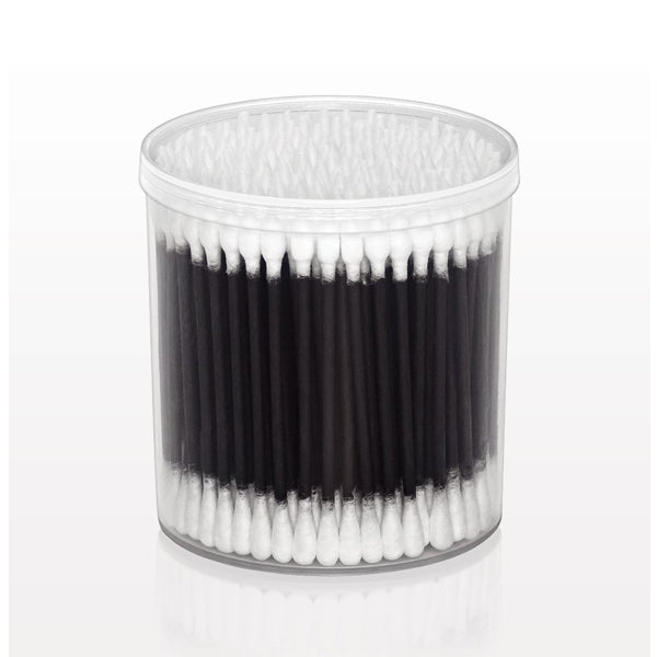 Point/Round Cotton Buds with Black Paper Handle