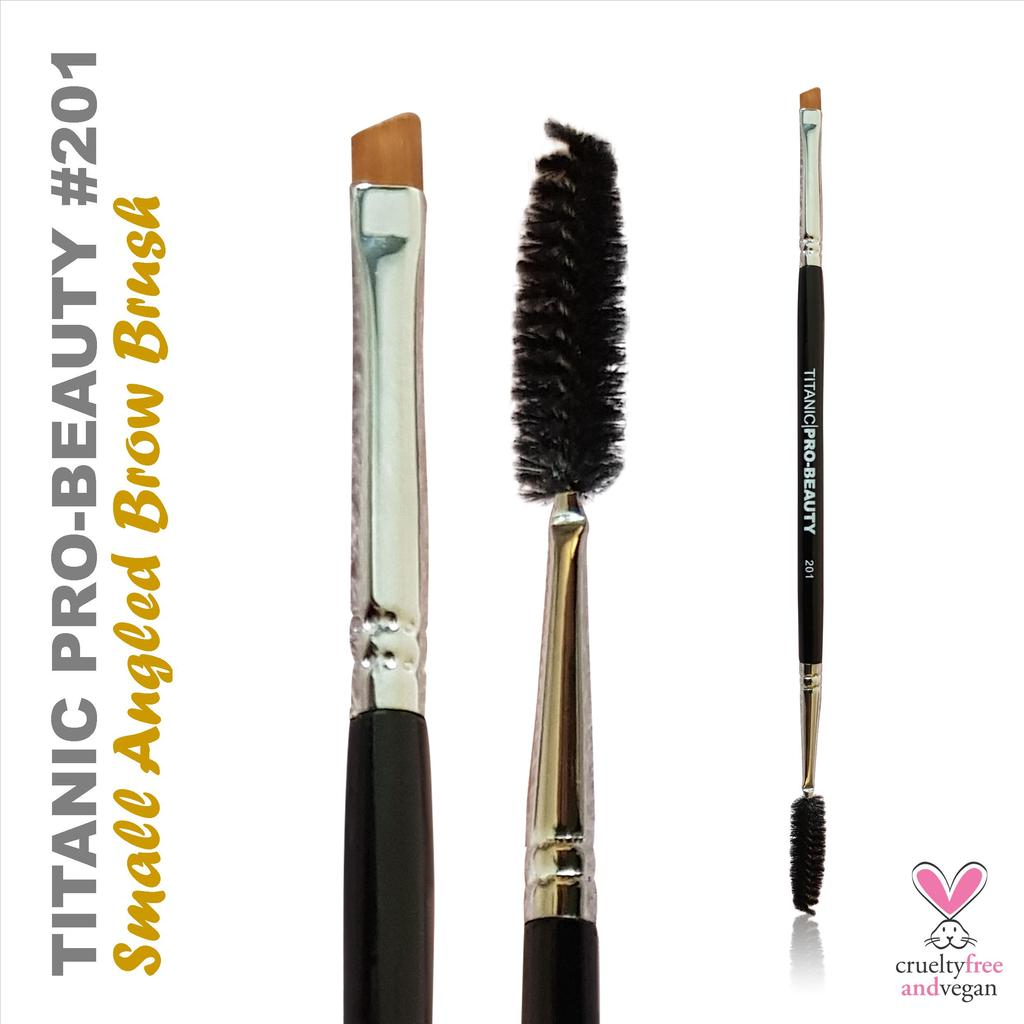 TITANIC PRO-BEAUTY BRUSH (201) - SMALL ANGLED BROW BRUSH WITH SPOOLIE