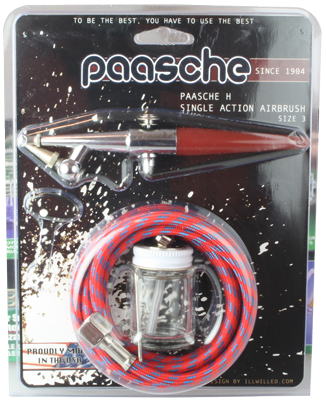 Paasche HS Airbrush Set including all heads, hose and bottles