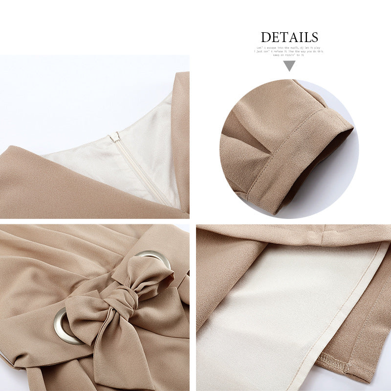 2020 Spring Women's Skirt New Japanese Commuter Elegant Round Neck Waist Narrow-cut Sleeve V-Neck Dress