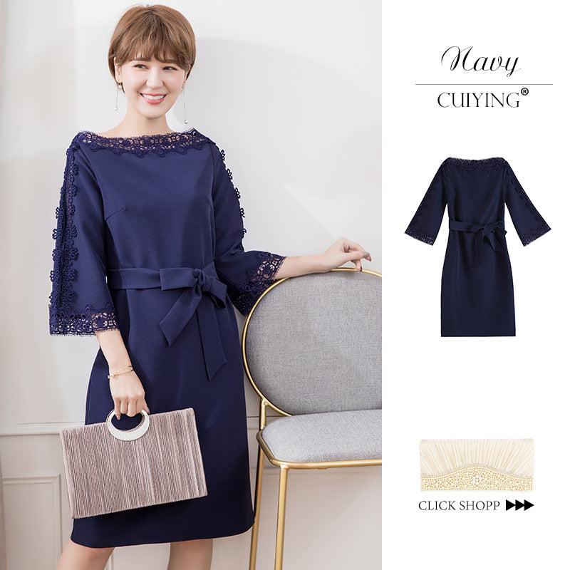 2020 women's dress Japanese style dress new elegant lace splicing seven sleeve one neck dress