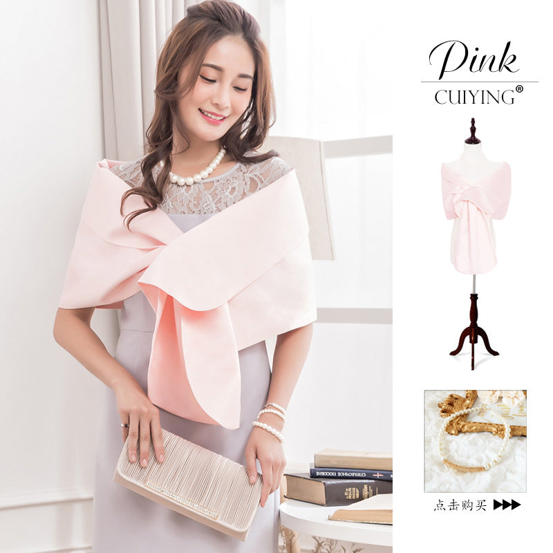 2020 autumn new high grade simple solid color cross bridal section air conditioning shawl