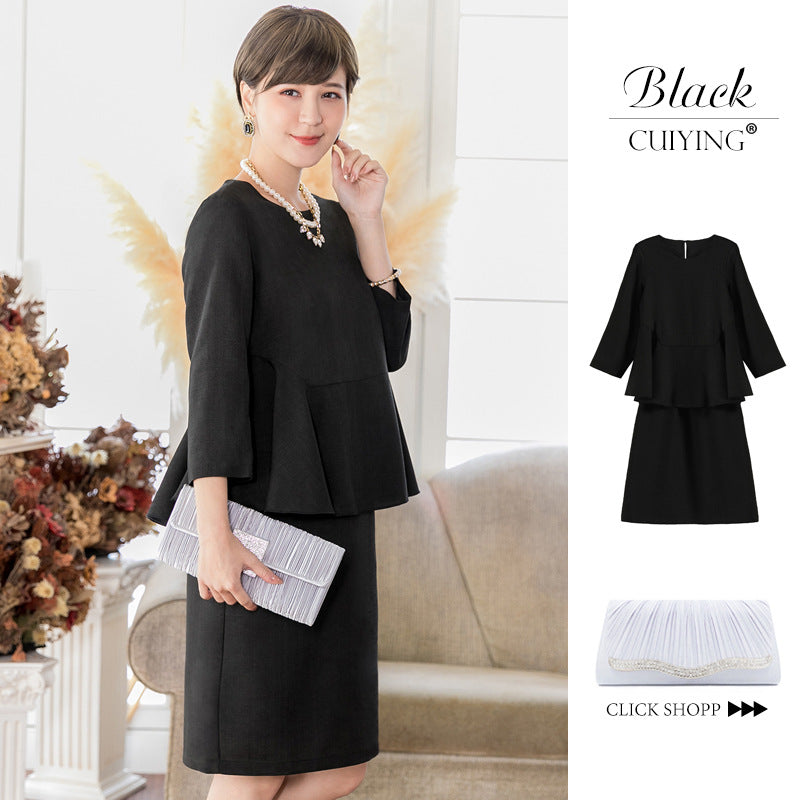 Spring 2020 women's dress new 7-sleeve jacket elegant check dress suit