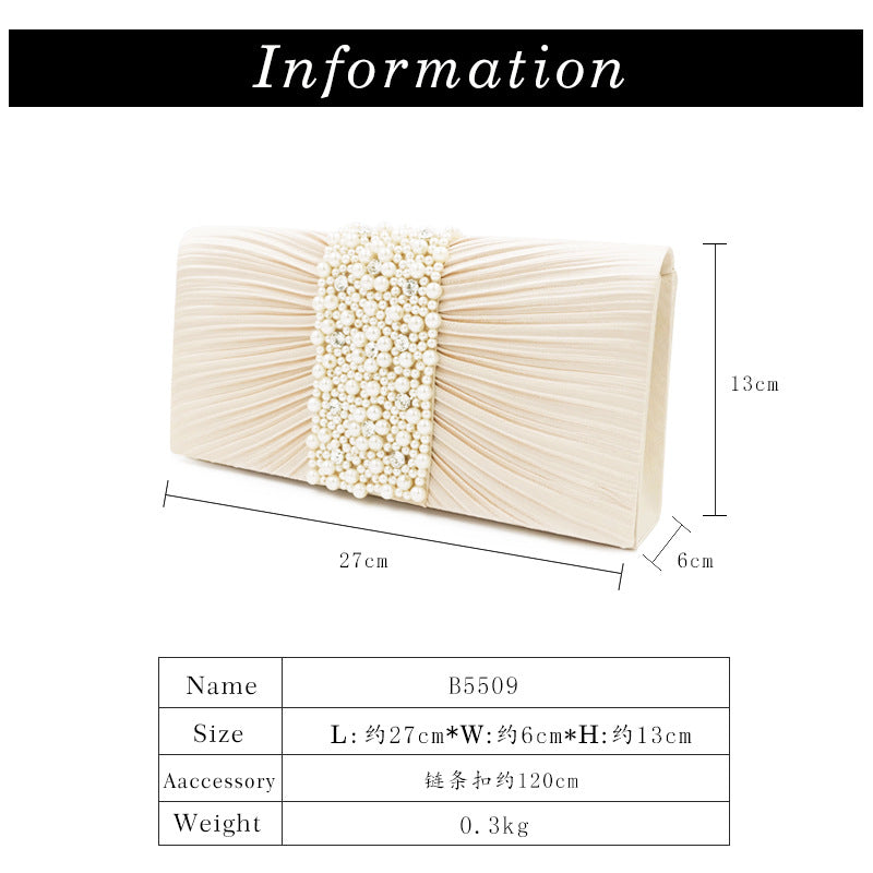 Elegant ladies fashion hundred Japanese and Korean banquet hand bag foldhand hand nail bead jewelry