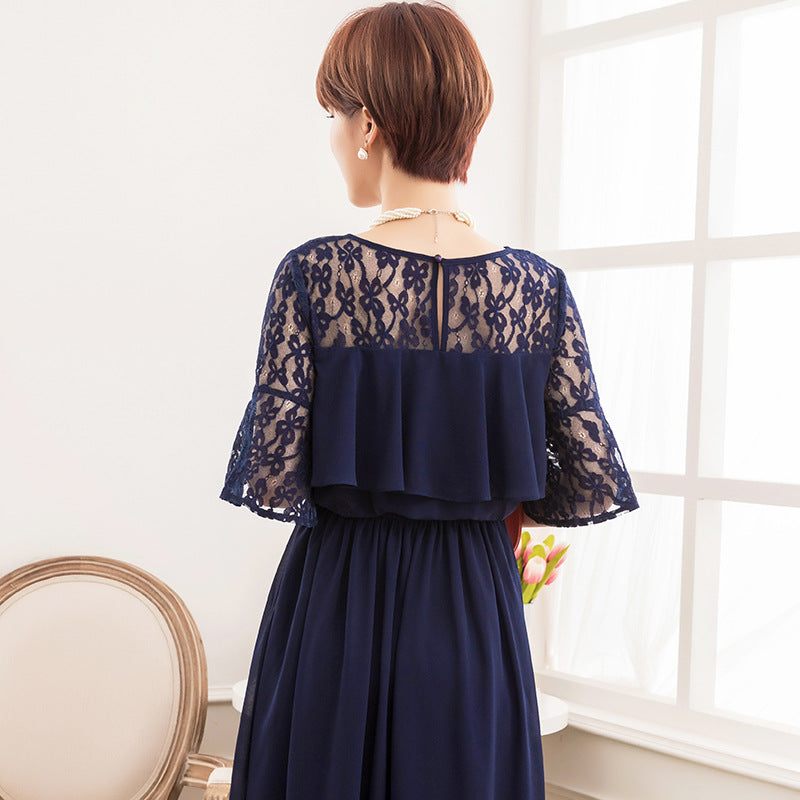 2020 women's fresh and sweet style lace splicing middle sleeve Round Neck Chiffon Long Dress
