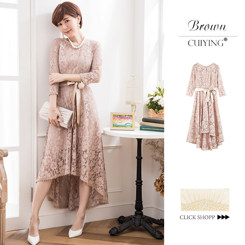 2020 Korean autumn dress new lace splicing 7-sleeve round neck mesh high waist lady long dress
