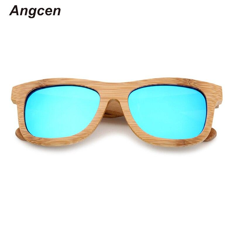 Angcen 100% Natural Bamboo Sunglasses Women Brand Designer Polarized Sunglasses Ladies Vintage Retro Free Gift sun glasses Box