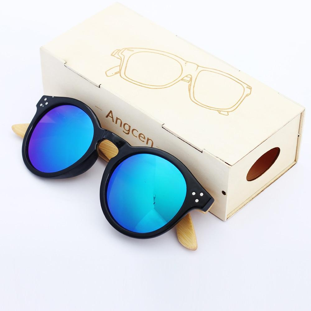 Angcen Retro Wooden Sunglasses Men Brand Oval Polarized Bamboo Sunglasses Women Mirror Lense UV 400 Protection Summer Eyewear