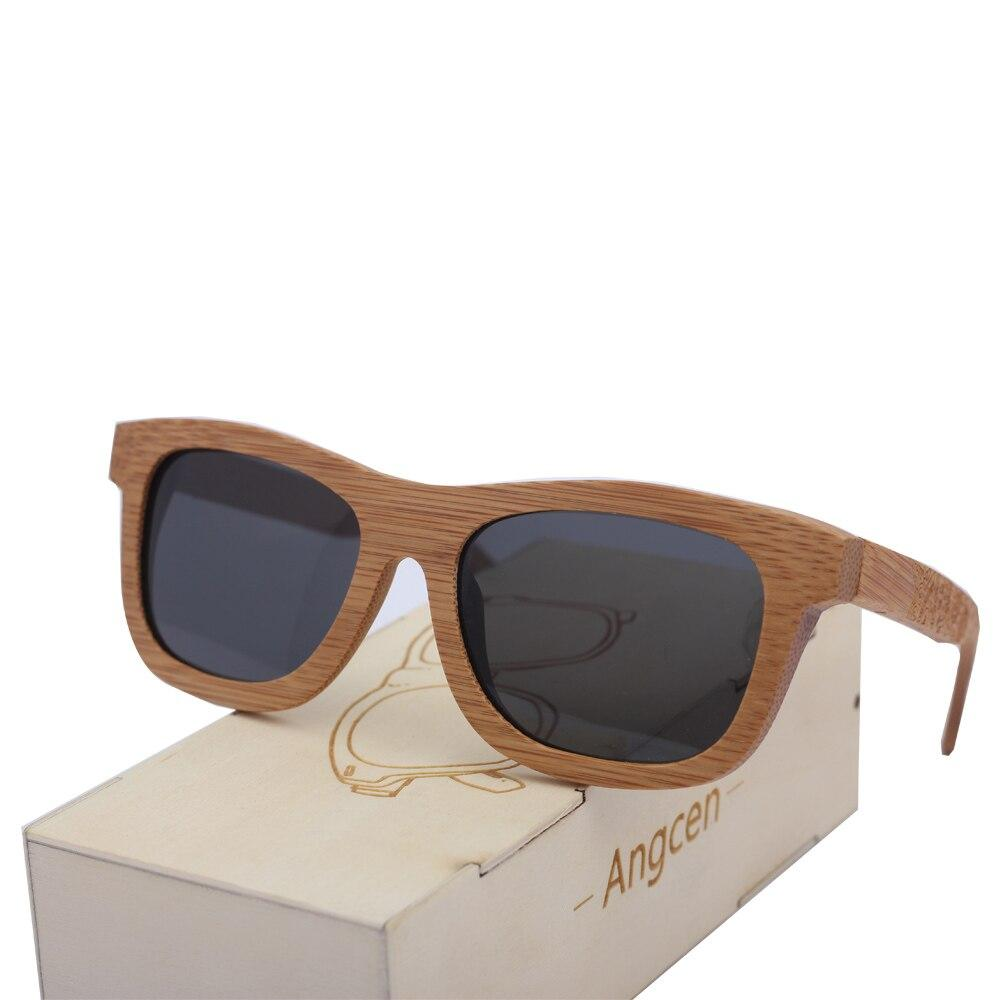 Angcen Luxury Men Wooden Sunglasses Polarized Vintage Bamboo Sunglasses Brand Handmade Sun Glasses Square UV400 Lenses Eyewear