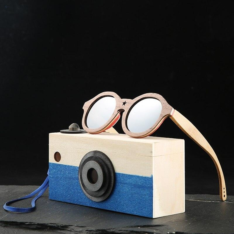Angcen round sunglasses kids polarized bamboo Sun glasses boys girls Vintage retro wooden sunglasses Children with case