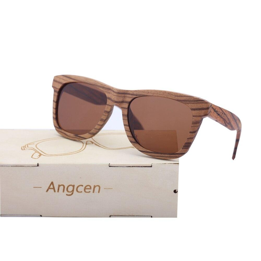 Angcen 100% Natural Wood Sunglasses Man Polarized Sun glasses with wood glasses case Retro vintage Square Sunglasses male