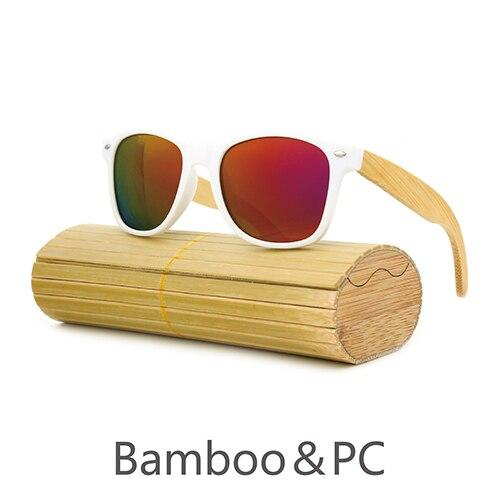 Angcen 2017 NEW wood fashion retro polarizing sunglasses men women polarized brand designer by hand bamboo PC-White Eyewear