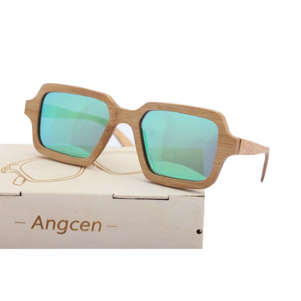 Angcen Handmade Men Bamboo Sunglasses Polarized Vintage Square Sunglasses brand designer with wooden glasses case