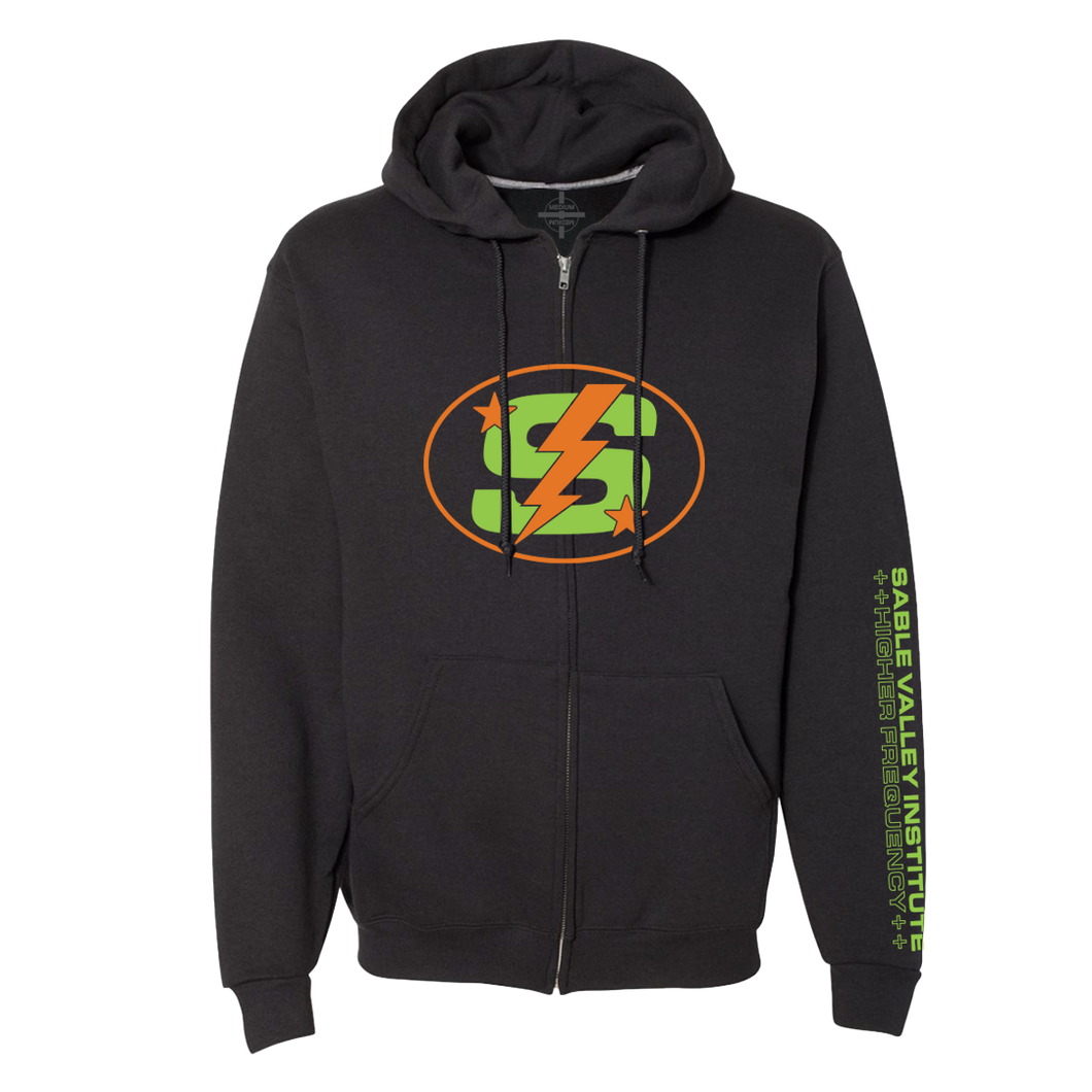 Monogram Full-Zip Hoodie - Black