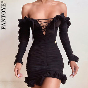 Sexy Off-Shoulder Women Ruffle See Through Dress