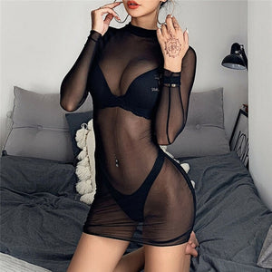 Women Sheer Mesh Dress Sexy Ladies Long Sleeve O-Neck Mini Dress Female Slim See-Through Dress Clubwear #40
