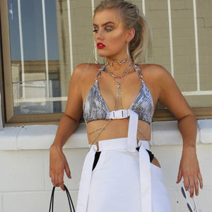 Deep V-neck Buckle Sexy Bra Bustier Top