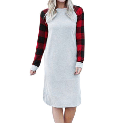 Spring Autumn Leisure Plaid Printed Loose Long Sleeve Dress Women Casual Dress - RELEVAZA