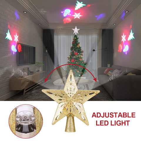 Christmas Tree Top Halloween Projector Light Star Shape LED Snowstorm Snowman Stripe RGB Projector Lights Xmas Party Decoration - RELEVAZA