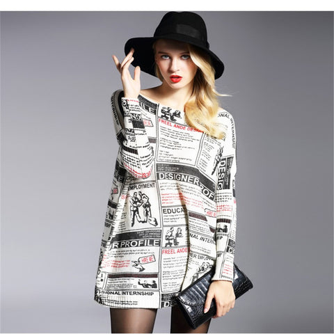plus size tops print pullover women's sweater long design top dress loose basic knitted sweater High quality HX08 - RELEVAZA