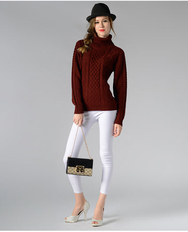 Eternal Show Turtleneck Women Sweaters And Pullovers Loose Female Sweater Knitted Stripe Pull Winter Women Tops 70N0469 - RELEVAZA