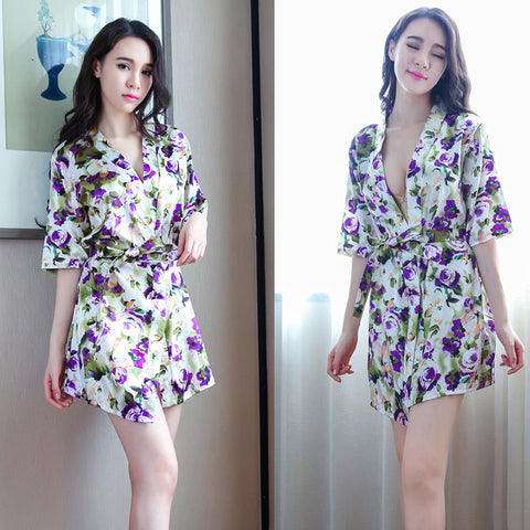 Imitation silk lady peacock flower bathrobe home service sexy lingerie - RELEVAZA