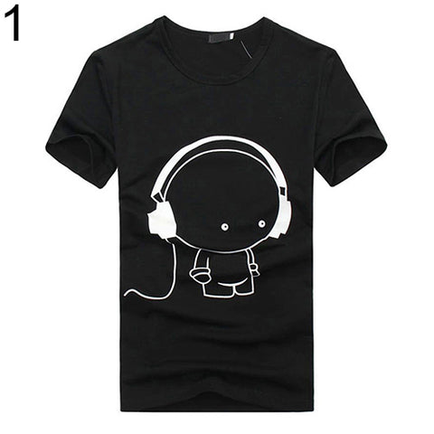 Men Summer Fashion Short Sleeve Cartoon Print T-Shirt Round Neck Slim Fit Top - RELEVAZA