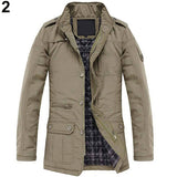 Men Winter Casual Long Sleeve Stand Collar Outwear Thick Coat Warm Jacket - RELEVAZA
