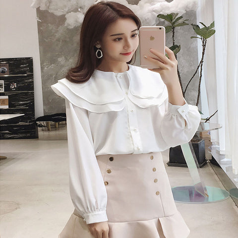 Sweet lotus leaf collar chiffon solid color top loose design - RELEVAZA