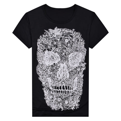 Punk Summer Men Tee Skull Head Print Crew Neck Short Sleeve T-Shirt Casual Top - RELEVAZA