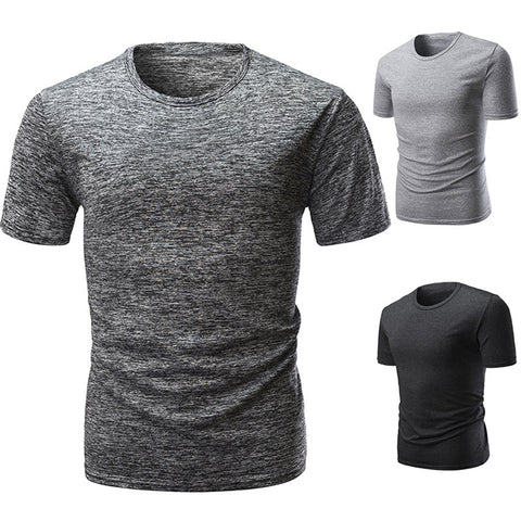 Slim Fit Solid Color Short Sleeve T-Shirt Summer Men Round Neck Tee Casual Top - RELEVAZA
