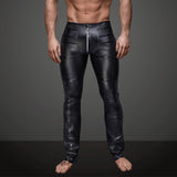 Night Club Sexy Men's Striped Faux Leather Zipper Skinny Long Pants Trousers - RELEVAZA