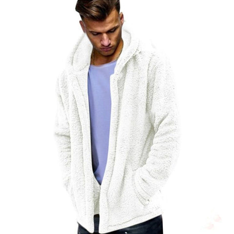 Winter Autumn Long Sleeve Solid Color Hooded Coat Warm Men Casual Outwear - RELEVAZA