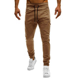 Men Casual Solid Color Sweatpants Jogger Trousers Fitness Sports Long Pants - RELEVAZA