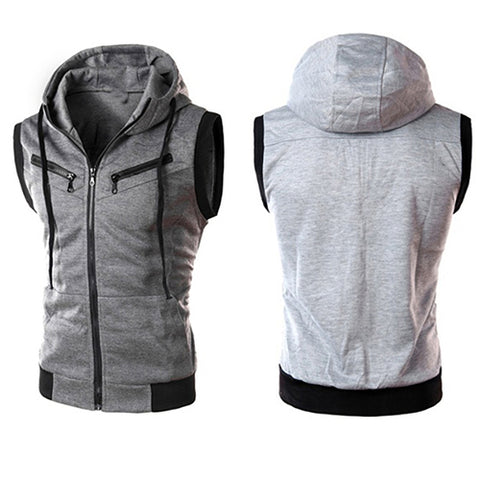 Men's Fashion Sports Drawstring Hooded Zipper Slim Fit Vest Waistcoat Outerwear - RELEVAZA