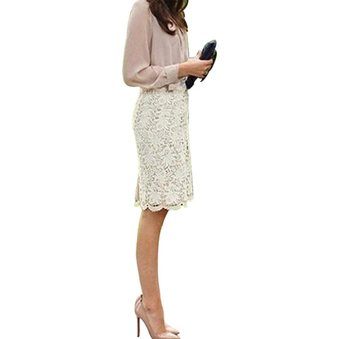 Women Sexy Bodycon Lace Crochet Floral Hollow Knee Length Skirt Office Work Wear - RELEVAZA