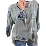 Fashion Printed V-neck Long Sleeve Casual Loose Spring Summer Women Blouse Top - RELEVAZA
