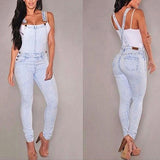 Women Washed Jeans Denim Casual Hole Loose Jumpsuit Romper Overall Bib Pants - RELEVAZA
