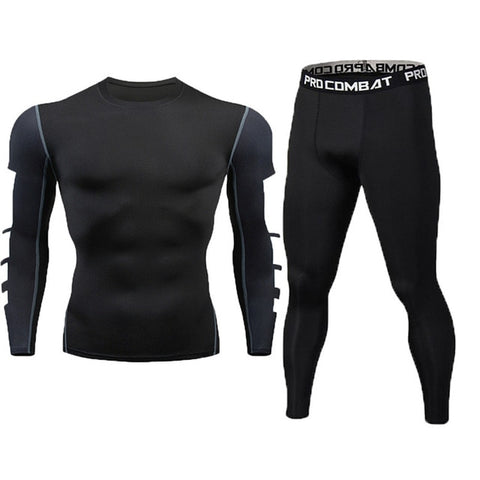 New Fitness Men's Set Pure Black Compression Top + Leggings Underwear Crossfit Long Sleeve + Short Sleeve T-Shirt Apparel Set - RELEVAZA