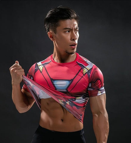 Short Sleeve 3D T Shirt Men T-Shirt Male Tee Captain America Superman tshirt Men Fitness Compression Shirt Punisher MMA - RELEVAZA