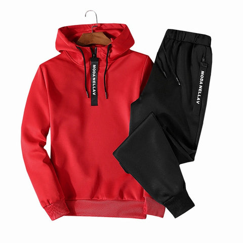 Sets Tracksuit Men Autumn Winter Hooded Sweatshirt Drawstring Outfit Sportswear 2019 Male Suit Pullover Two Piece Set Casual - RELEVAZA