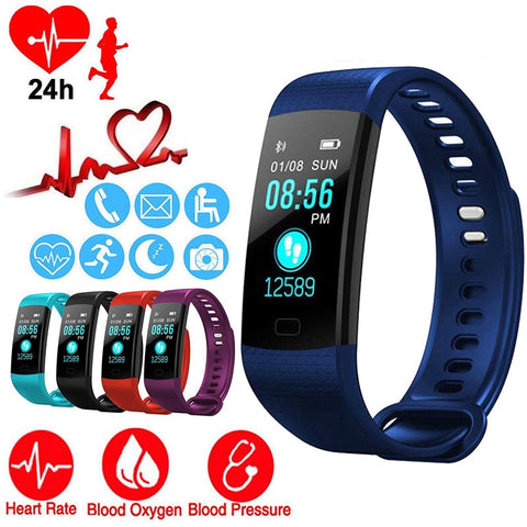 Smart Watch Sports Fitness Activity Heart Rate Tracker Blood Pressure wristband IP67 Waterproof band Pedometer for IOS Android - RELEVAZA