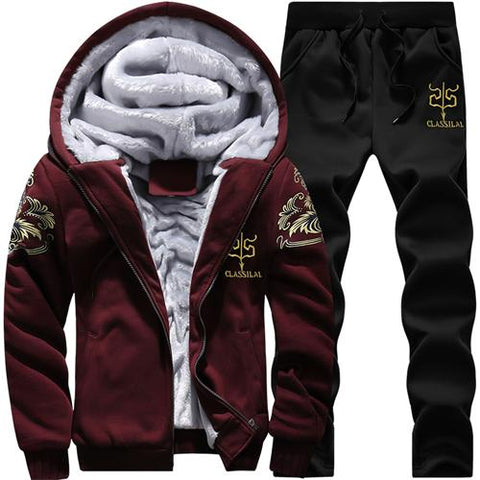 Causal Tracksuits Men Set hooded Thicken Fleece Hoodies + Sweatpant 2019 Winter Spring Sweatshirt Sportswear Male Letter Print - RELEVAZA