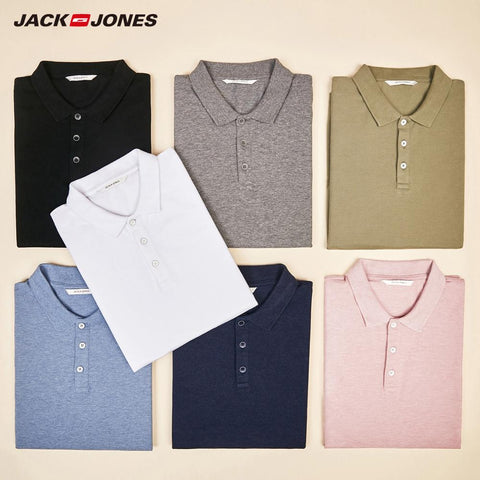 JackJones Men's Solid Color Cotton Turn-down Collar Polo Shirt Menswear 219106516 - RELEVAZA