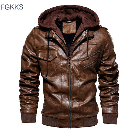 FGKKS Men Motorcycle Leather Jackets Winter Male Fashion Casual Hooded Faux Jacket Mens Warm PU Leather Jackets Coats - RELEVAZA