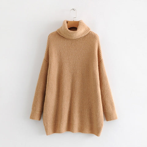 2019 Winter Candy Color Oversized Turtleneck Sweater Hot pink Mustard Color Loose Knitted Jersey - RELEVAZA