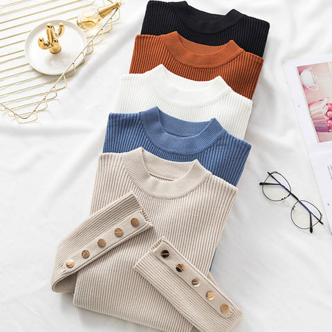 Autumn Women Long Sleeve Pure Slim Sweater Winter Knitted Turtleneck Casual Cashmere Pullover Metal Buttons Split Cuff Basic Top - RELEVAZA